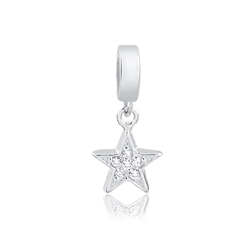 Berloque de Estrela com Zircônias Prata 925