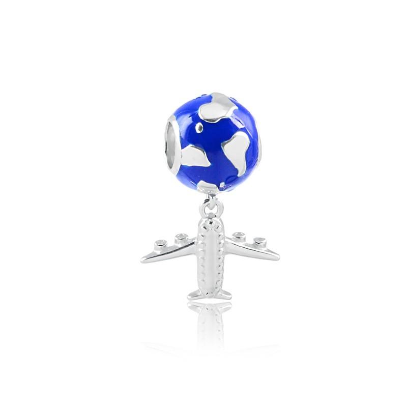 Berloque globo terrestre e avião prata 925