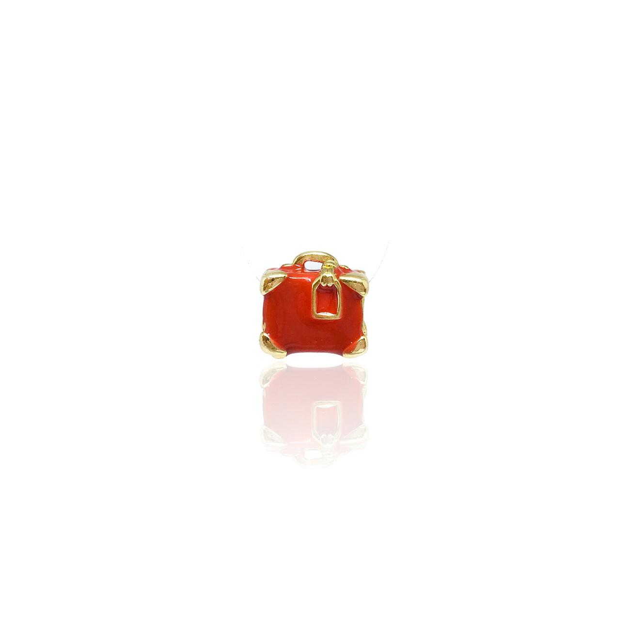 Berloque Mala Vermelha Banhada à Ouro 18K