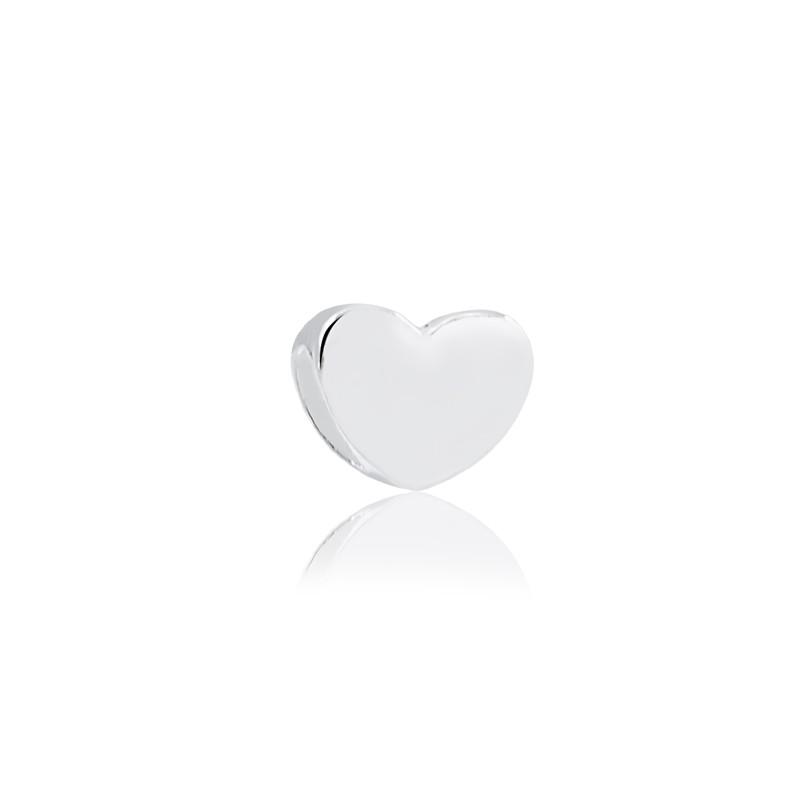 Berloque separador de coração liso prata 925