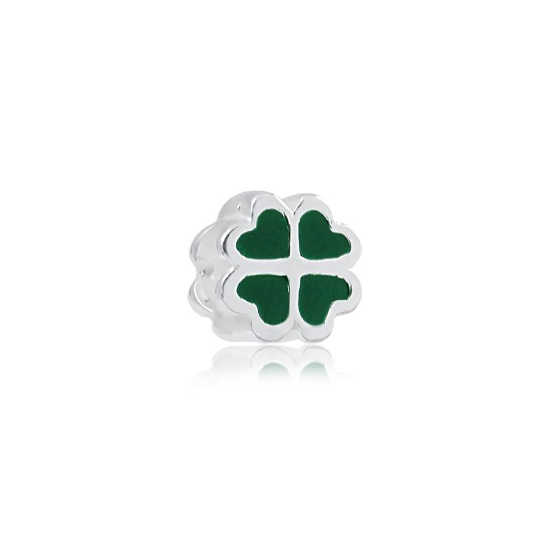 Berloque Trevo Verde Separador Prata 925