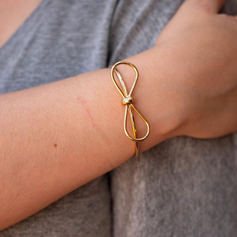 Bracelete de lacinho banhado a ouro 18k feminino
