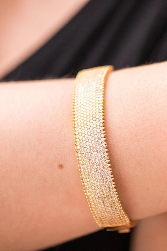 Bracelete Dourado de Festa Banhado à Ouro 18k