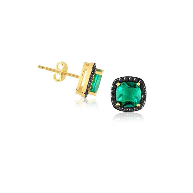 Brinco com Pedra Verde e Zircônias Negras Banhado à Ouro 18k feminino