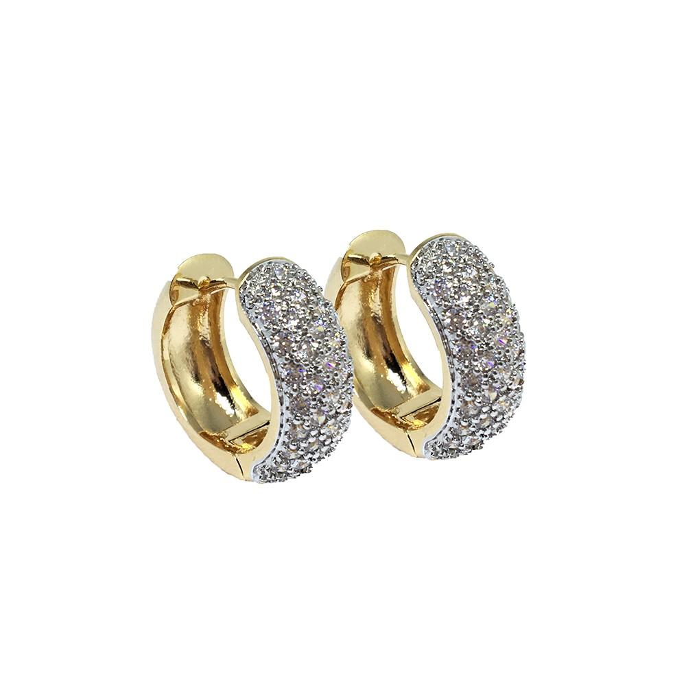 Brinco de Argola com Pedras de Zirconia Banhado a Ouro