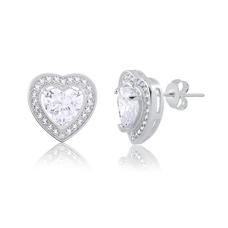 Brinco de Coração com Pedras Prata 925 Feminino