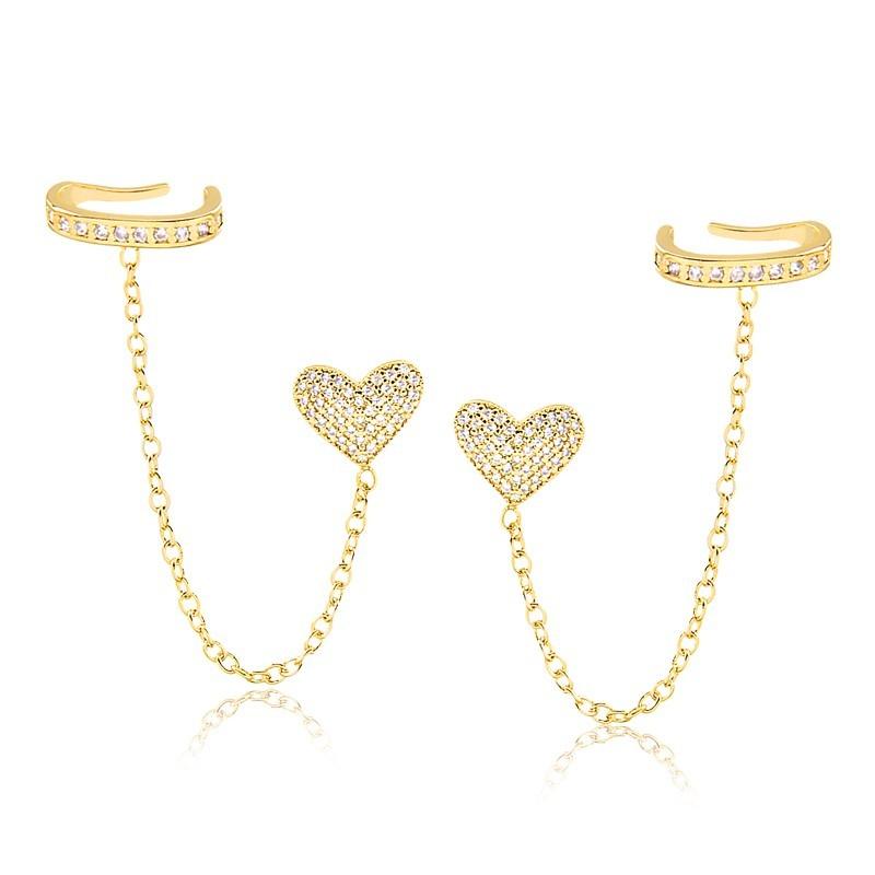 Brinco de coração com corrente e piercing fake banhado a ouro 18k feminino