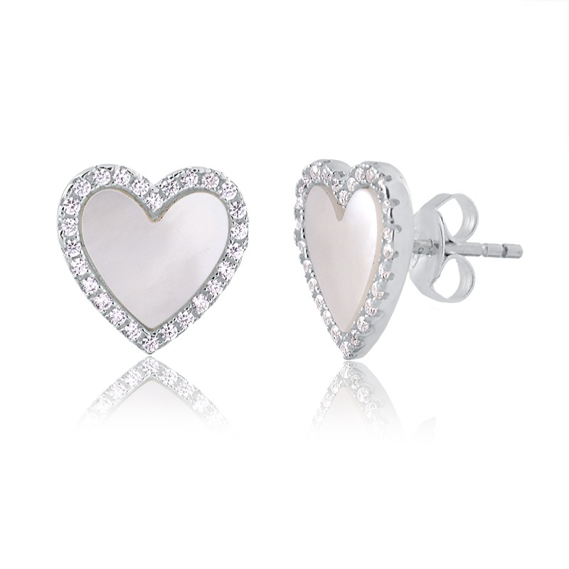 Brinco de coração com madrepérola prata 925 feminino