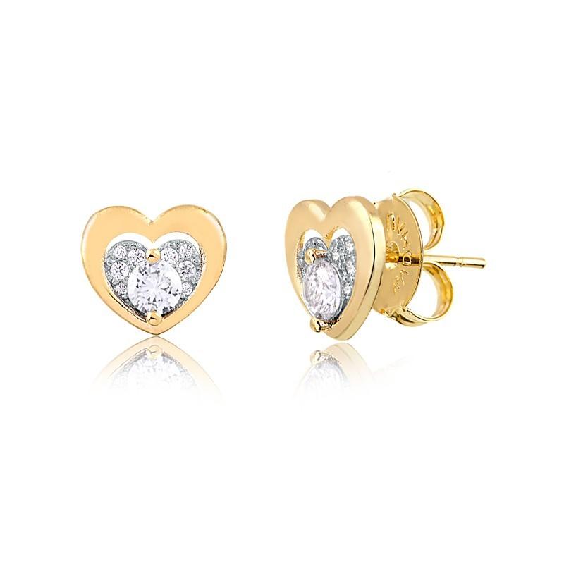 Brinco de Coração com Zircônias Banhado á Ouro 18k Feminino