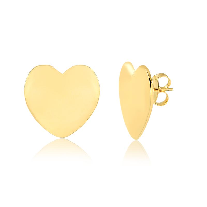 Brinco de coração grande liso banhado a ouro 18k feminino