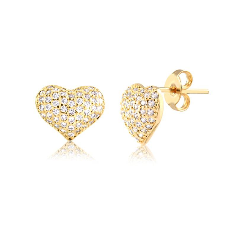 Brinco de Coração Pequeno Cravejado Banhado à Ouro 18k Feminino