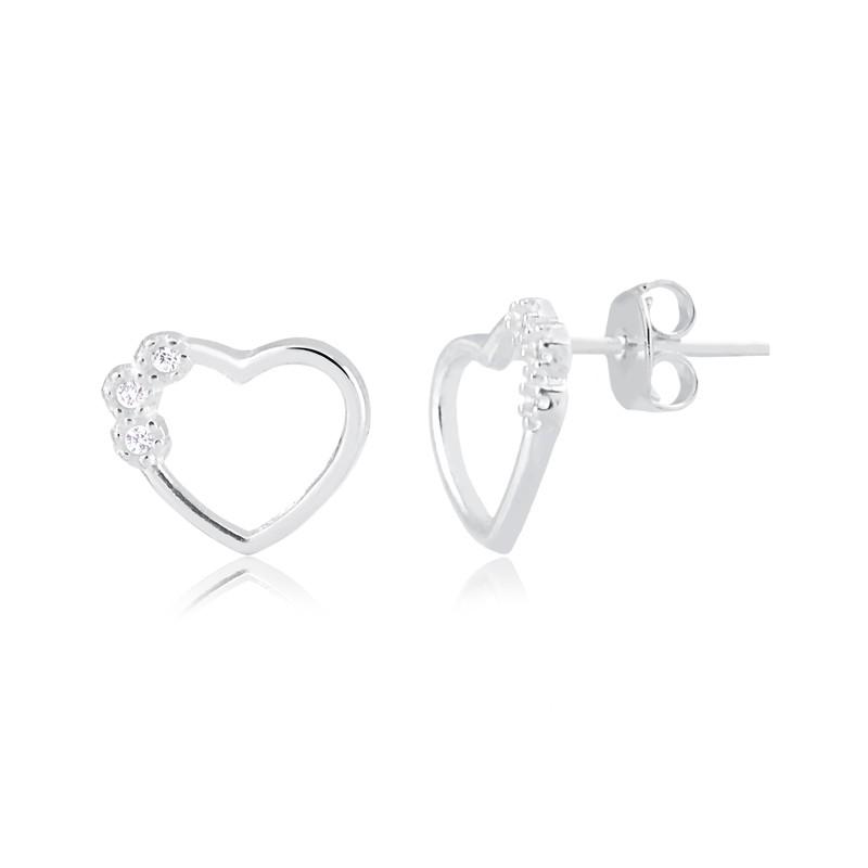 Brinco de coração vazado prata 925 feminino