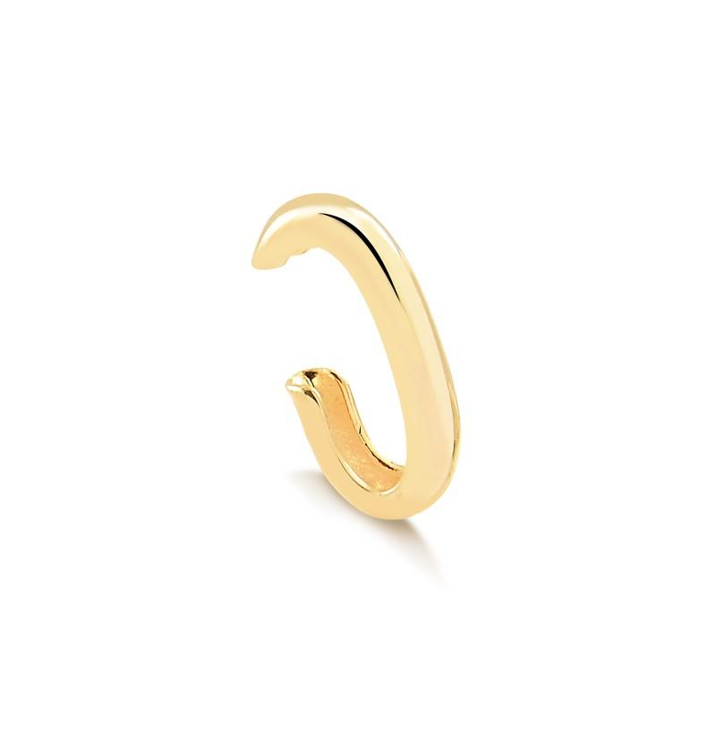 Brinco de encaixe piercing fake liso banhado à ouro 18k unitário
