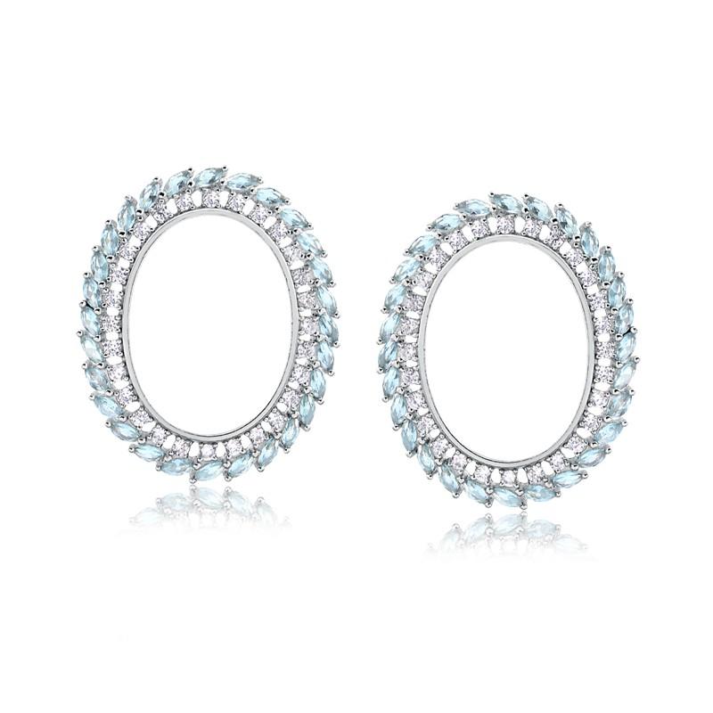 Brinco de pedra azul cristal topázio oval prata 925