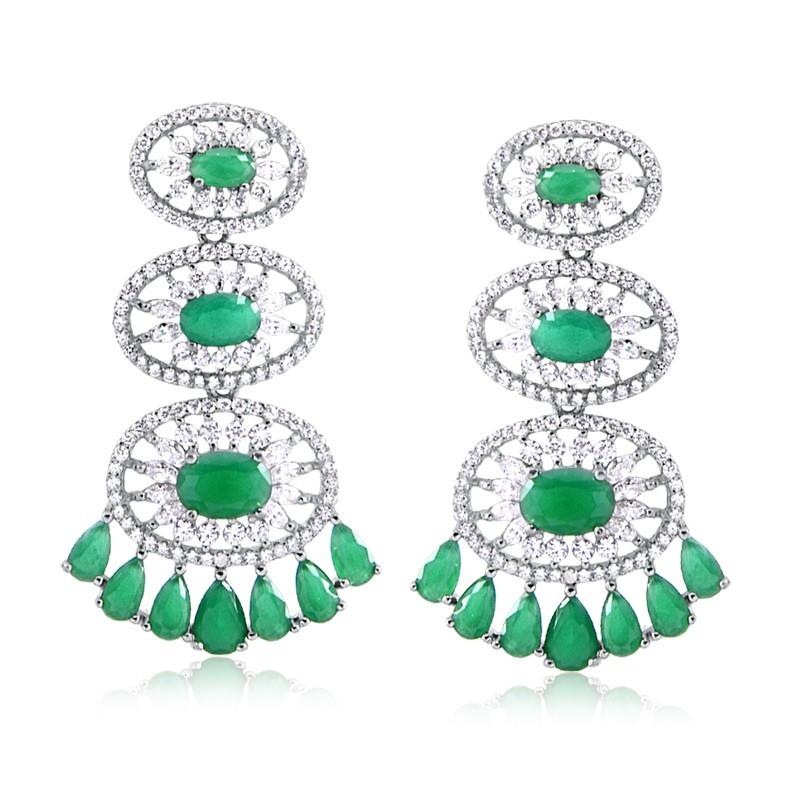 Brinco de pedra verde longo oval cristal esmeralda prata 925 feminino