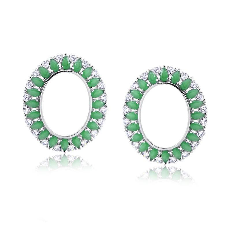 Brinco de pedra verde oval grande cristal esmeralda prata 925