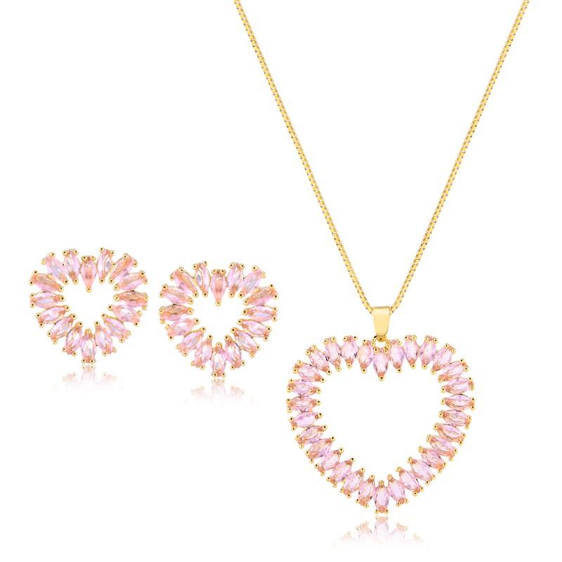 Brinco e Colar de Coração Rosa Banhado a Ouro 18k Feminino