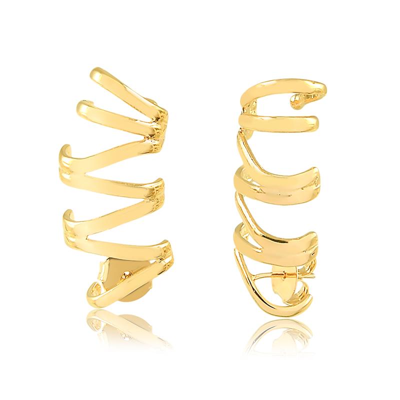 Brinco ear cuff liso banhado a ouro 18k feminino