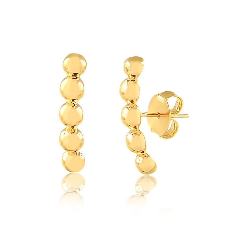 Brinco ear hook de bolinhas banhado a ouro 18k