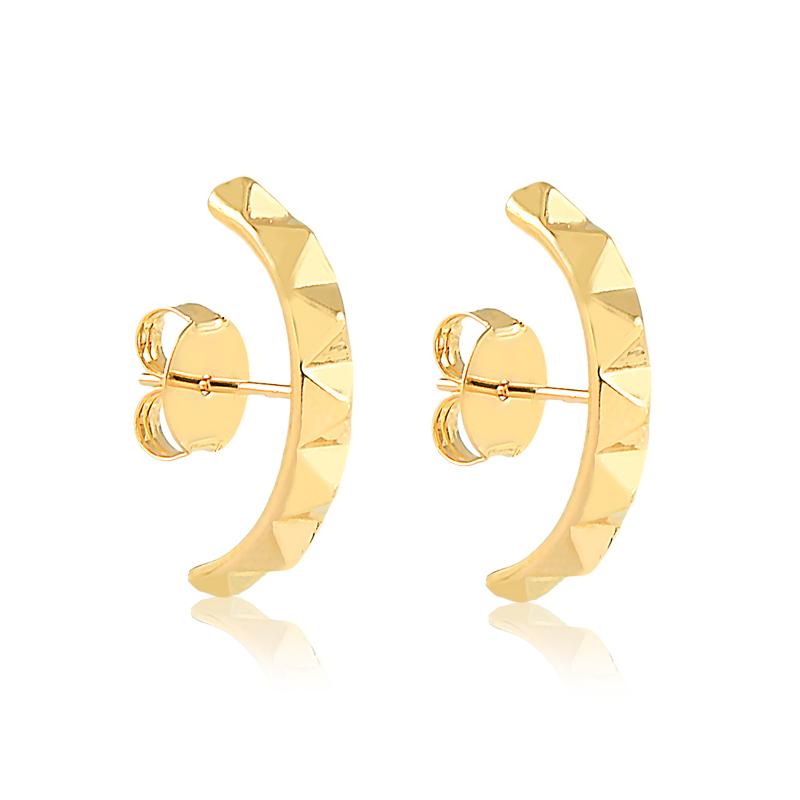 Brinco ear hook de spikes banhado a ouro 18k feminino