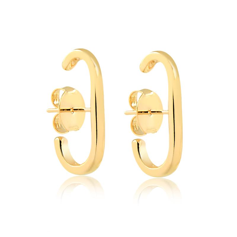 Brinco ear hook liso banhado a ouro 18k feminino