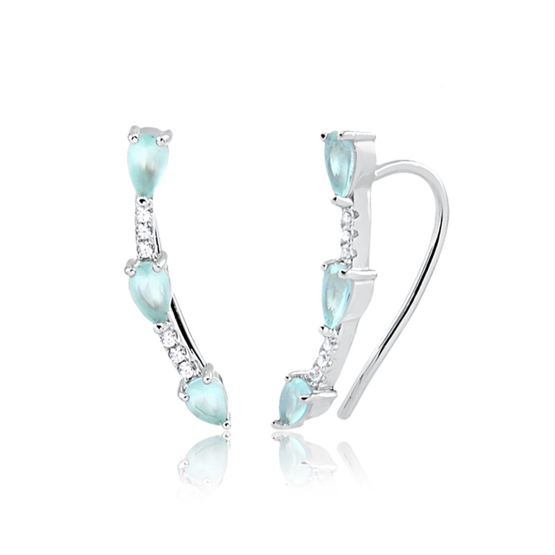 Brinco earcuff de cristal paraíba e zircônias prata 925 com ródio branco