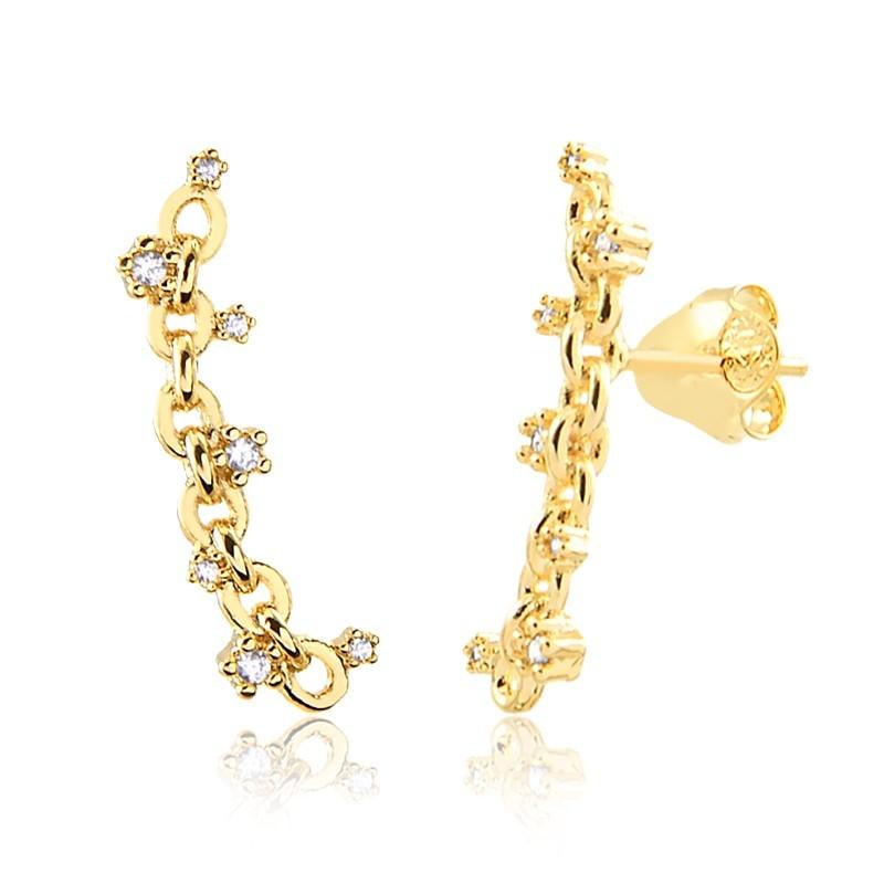 Brinco earcuff de elos banhado a ouro 18k feminino