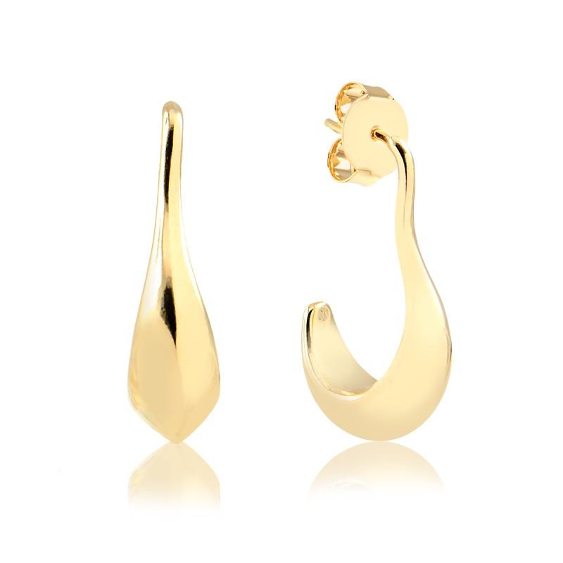 Brinco meia argola formato orgânico banhada à ouro 18k feminina