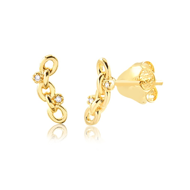 Brinco mini earcuff de elos banhado a ouro 18k feminino