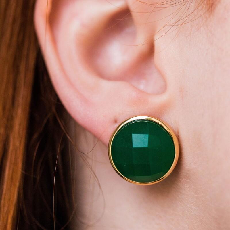 Brinco Pequeno de Pedra Ágata Verde Banhado à Ouro 18k