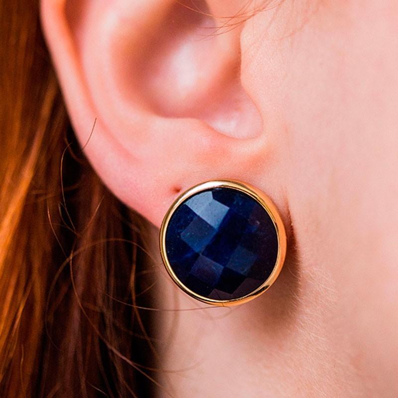 Brinco Pequeno de Pedra Azul Sodalita Banhado à Ouro 18k