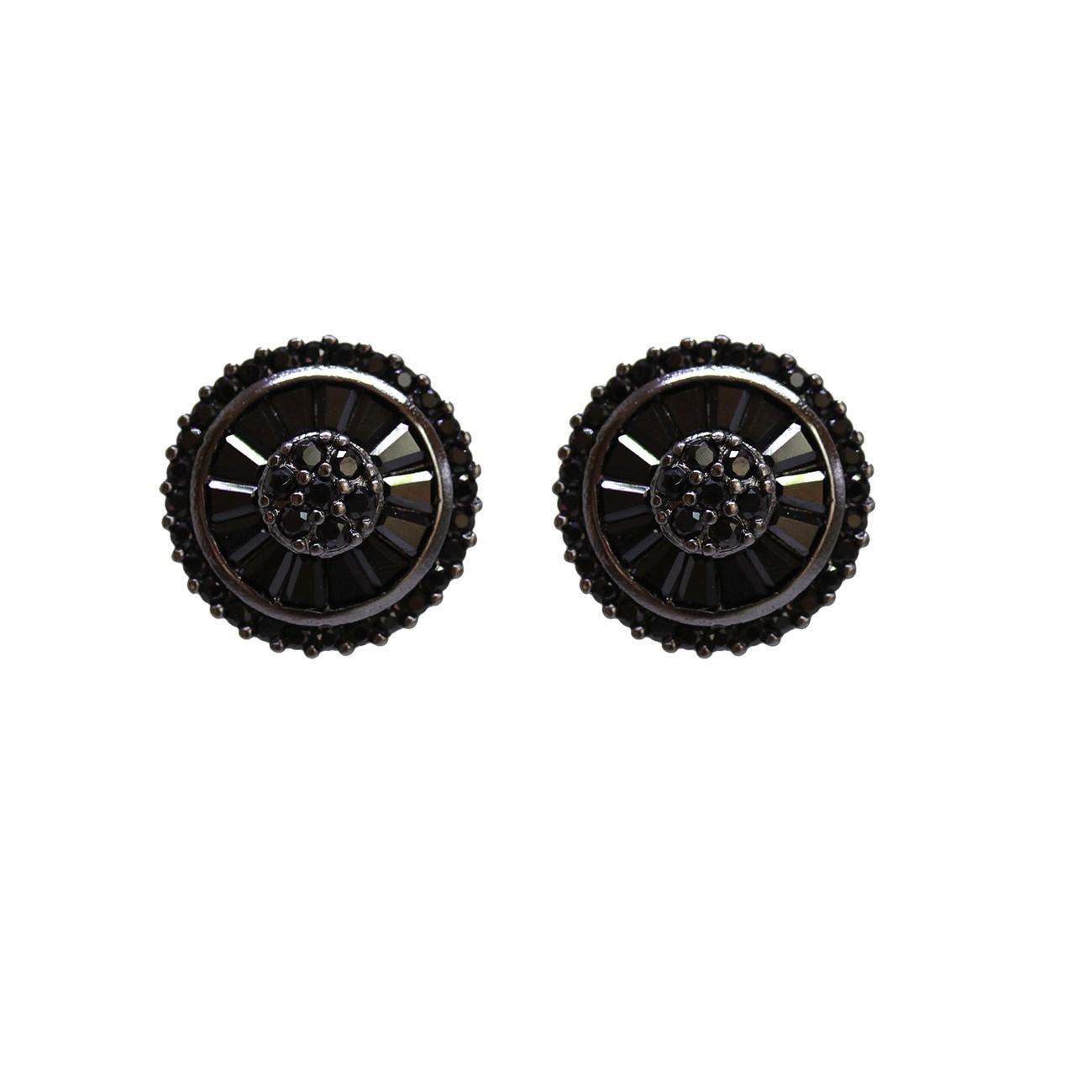 Brinco Pequeno Preto com Zirconias Banho de Ródio Negro
