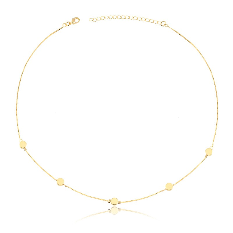 Choker com bolinhas douradas banhado à ouro 18k feminina