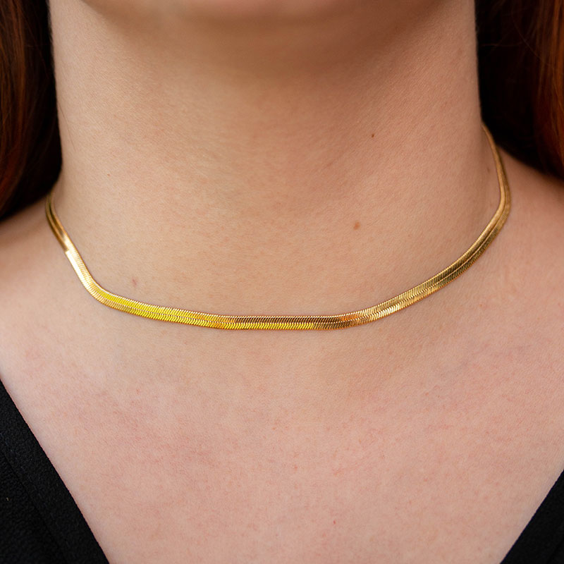 Choker de fita lisa banhada a ouro 18k feminina