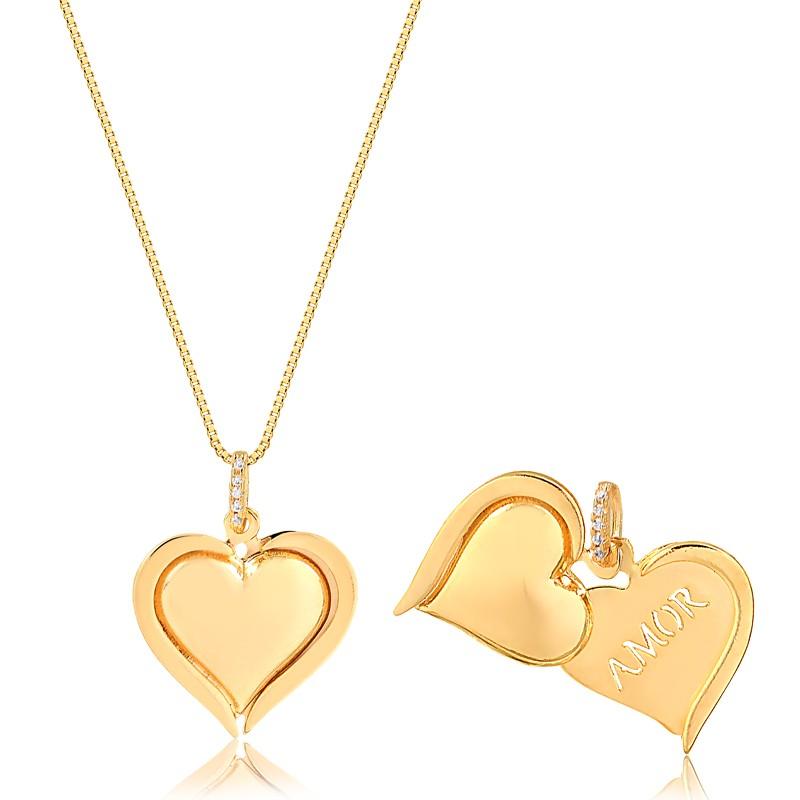 Colar de Coração escrito Amor Banhado à Ouro 18k Feminino