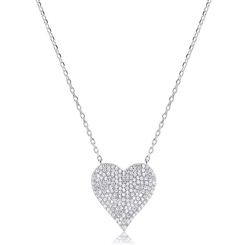 Colar de Coração Grande Cravejado Prata 925 Feminino