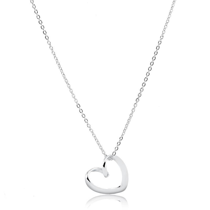 Colar de coração vazado liso prata 925 feminino