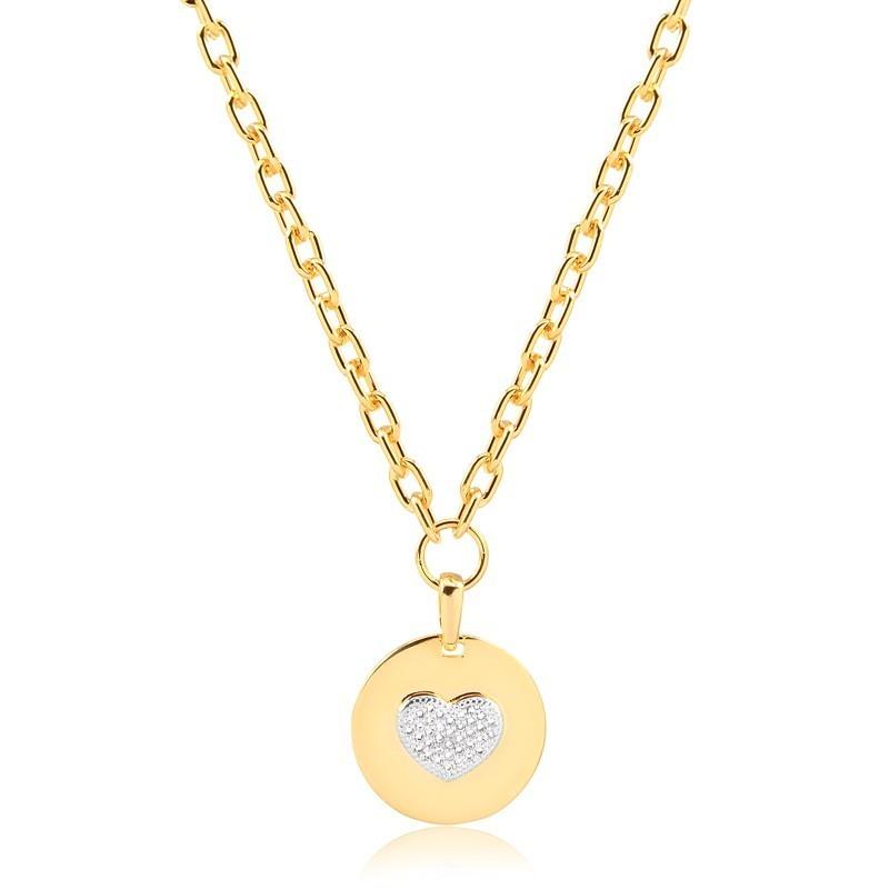 Colar de elos americanos com pingente de coração banhado à ouro 18k