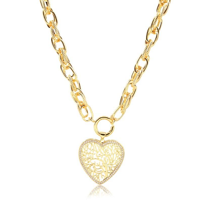 Colar de elos largos com pingente de coração banhado à ouro 18k