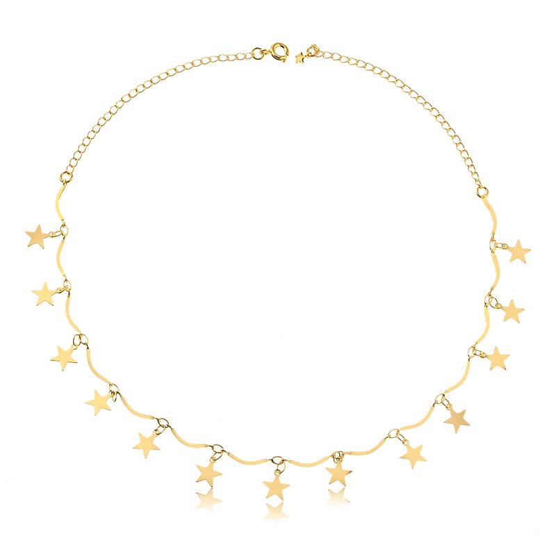 Colar de estrelas banhado a ouro 18k feminino