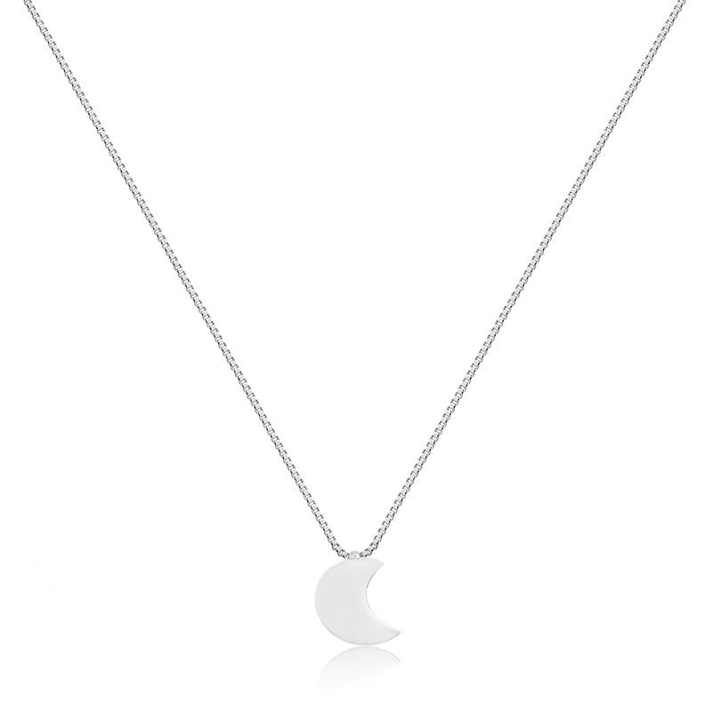 Colar de lua liso prata 925 feminino
