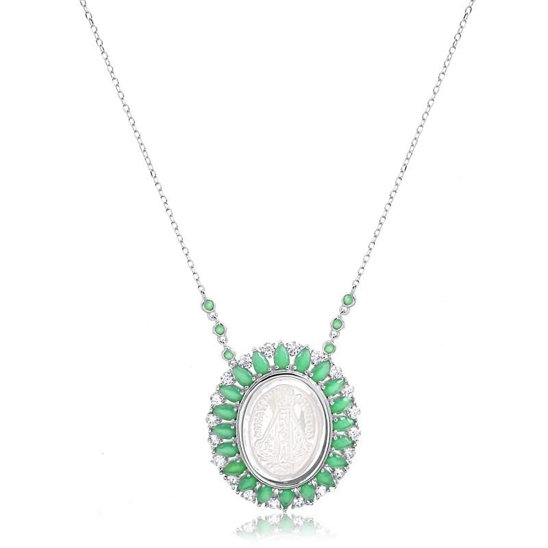 Colar de Nossa Senhora Aparecida com pedras verdes cristal esmeralda Prata 925