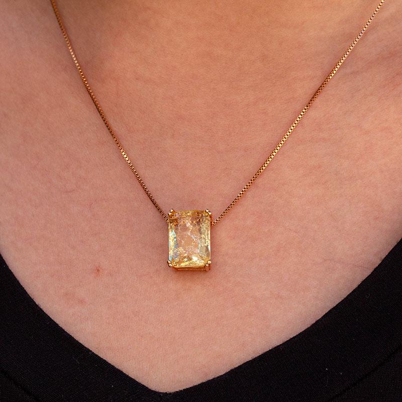 Colar de pedra amarela retangular banhado a ouro 18k feminino