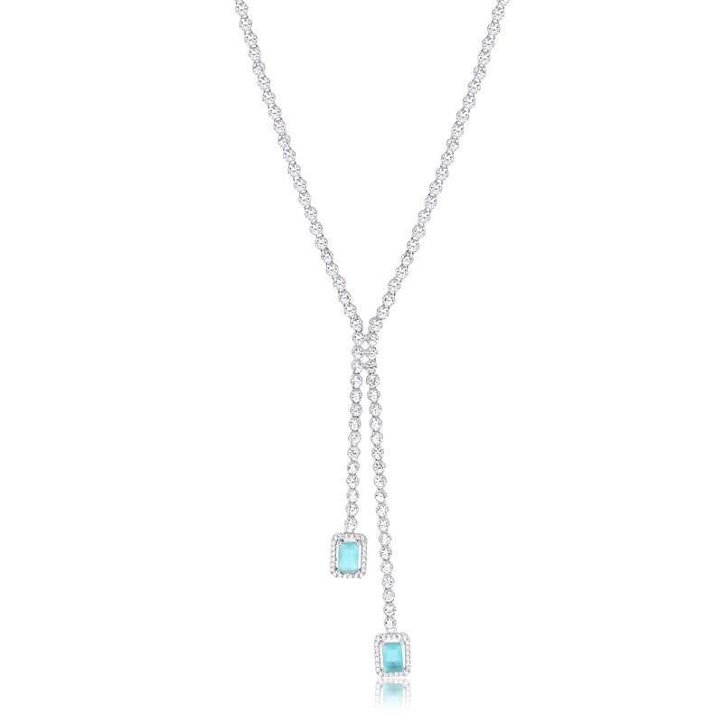 Colar de pedras com cristal topázio azul festa prata 925