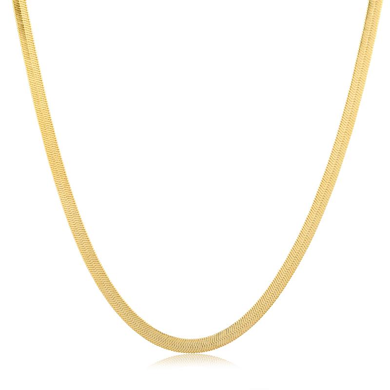 Colar fita liso banhado a ouro 18k feminino