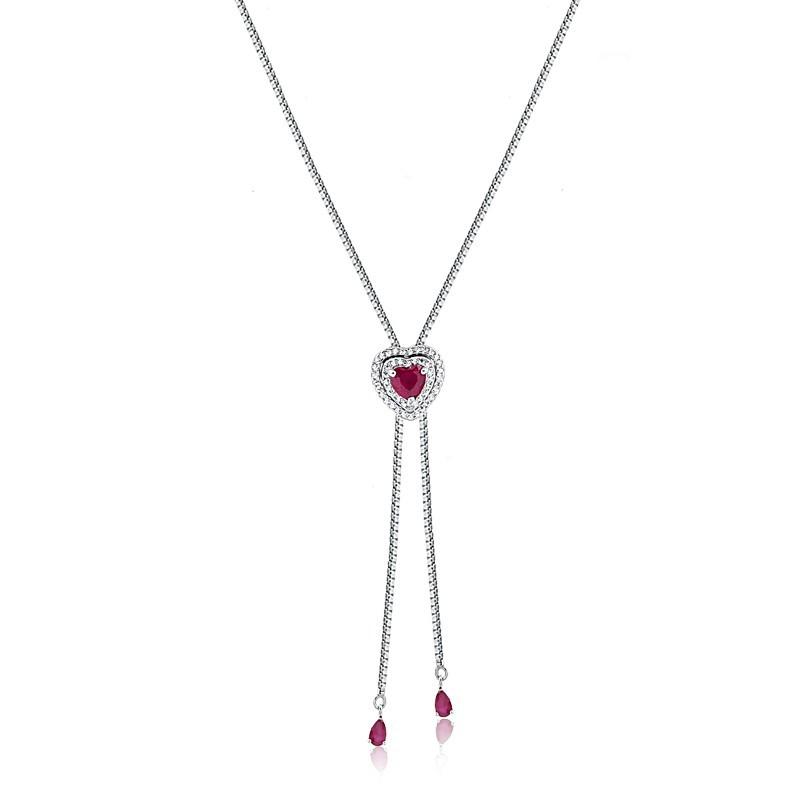 Colar Gravatinha de Coração com Pedra Cristal Rubi Vermelha Prata 925