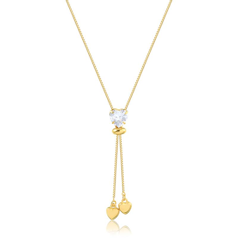 Colar gravatinha de coração ponto de luz banhado a ouro 18k feminino