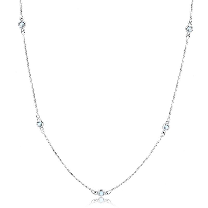 Colar longo com pedras azuis cristal topázio prata 925