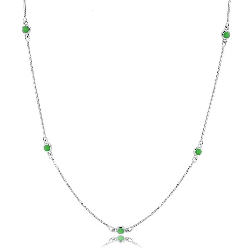 Colar Longo com Pedras Verdes Cristal Esmeralda Prata 925