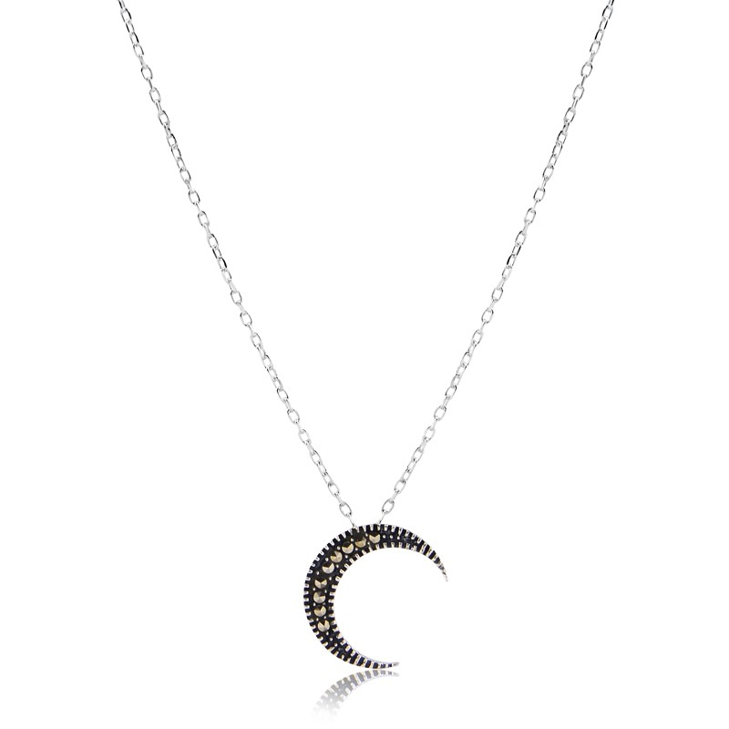 Colar meia lua prata de bali 925 feminino